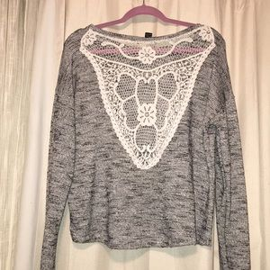 sweater with crochet back
